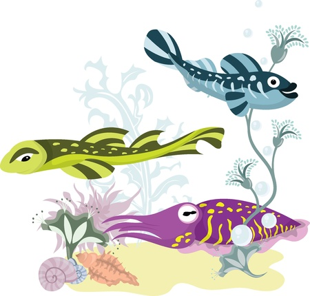 aquatic plant: the underwater world, fishes and a cuttlefish