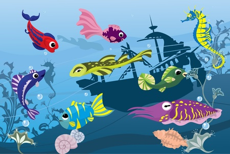 Underwater life in sea, colorful fishes and  cuttlefish Vector