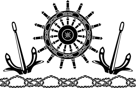 Sea stencil set:  handwheel , anchors, pattern from sea knots Vector
