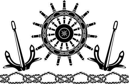 helm: Sea stencil set:  handwheel , anchors, pattern from sea knots Illustration