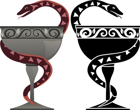 Snake on a bowl in two variants. medical symbol