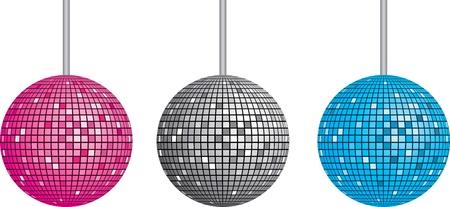 Geïsoleerde discoball set. vector illustratie voor web
