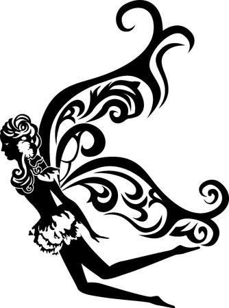 mooie vliegende fee stencil