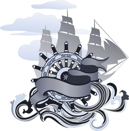 ancient ships: Voyage design element, banner, hand wheel and sailing ship