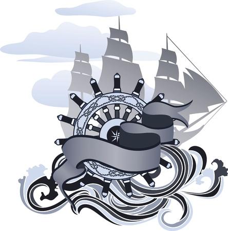 Voyage designelement, banderoll, handhjulet och segelfartyg
