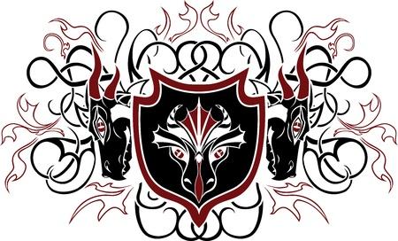 Dragon shield. vector illustration for web Vector