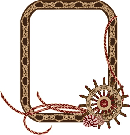 rope knot: Sea frame with knots and hand wheel