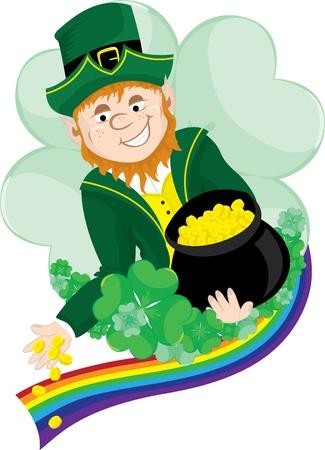 leprechaun background: Irish Leprechaun scattering coins from his pot of gold