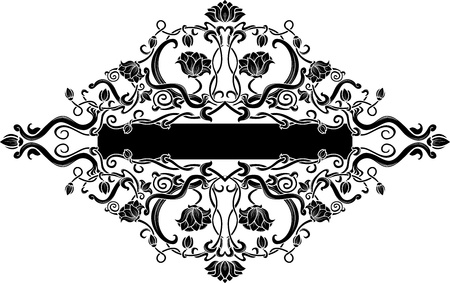 Black filigree floral banner Vector