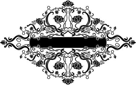 baroque frames: Black filigree floral banner