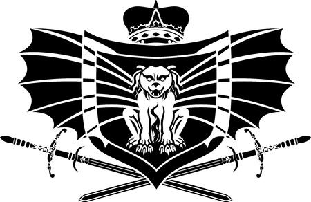 gargoyle: Gargoyle shield stencil with crown and sword