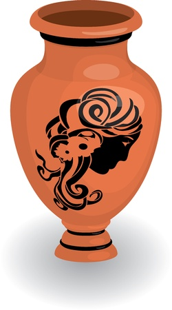 Greek vase with female profile Stock Vector - 11918401