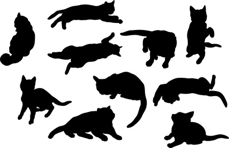 Set of cats silhouettes in different poses third variant Vector