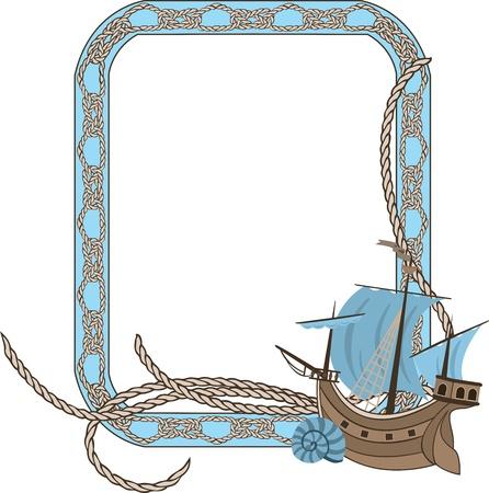 Zee frame met knopen en zeilschip Stock Illustratie