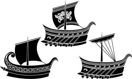 trireme: Ancient Greek ship set. stencil Illustration