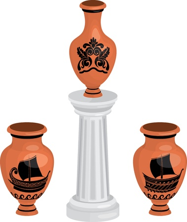 antique greek vases set with ships and floral pattern Vector