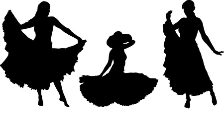 girl in gipsy skirt silhouettes set, sitting and dancing Vector