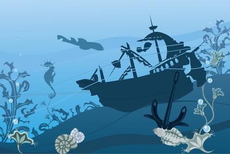 Underwater landscape in blue color Vector