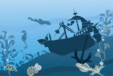 Underwater landscape in blue color Vektoros illusztráció