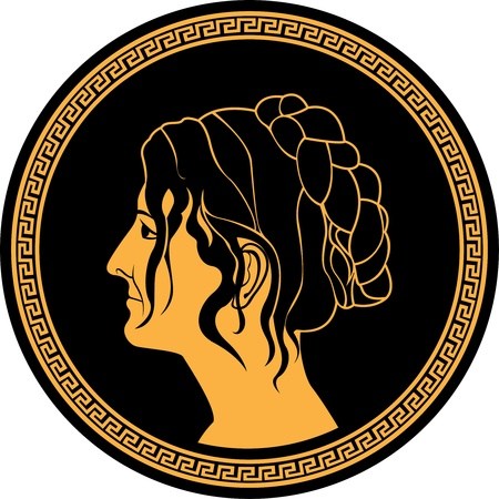 hellenic: patrician women profile on round pattern Illustration