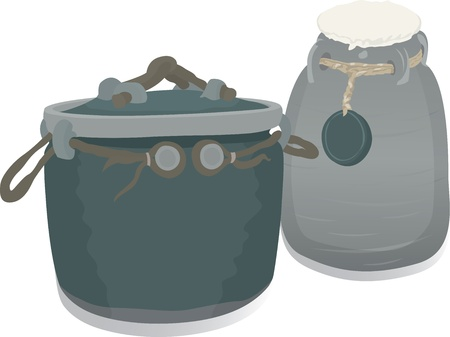 Two pots vector illustration in green colores Stock Vector - 12191000