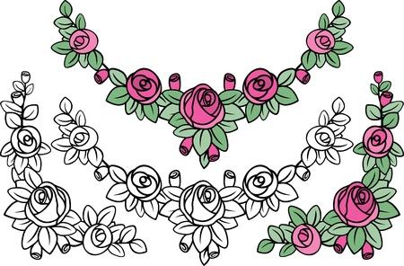 gammaldags ros mönster dekoration i svarta och färgade varianter