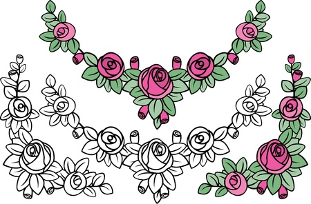 old-fashioned rose pattern decoration in black and colored variants Vector