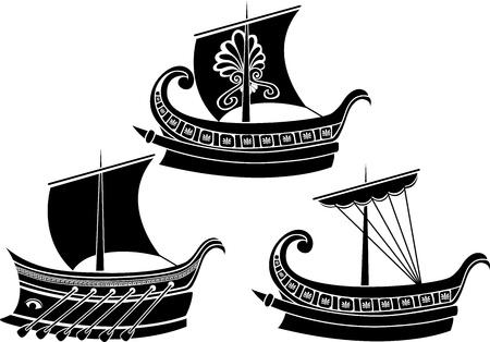 vecchia nave: Antica nave greca impostare stencil seconda variante