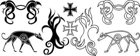 norse: Decoration elements set in viking style