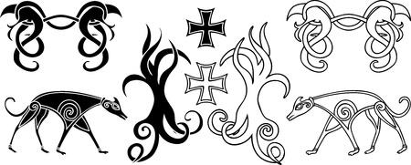 interlacing: Decoration elements set in viking style