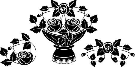 Rose in vase tattoo vector illustration for web Stock Vector - 12357474