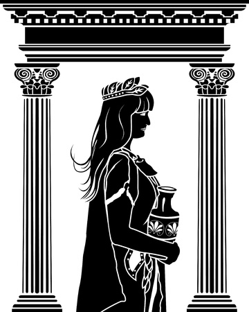 Romane patrician woman with arch on background stencil  Vector