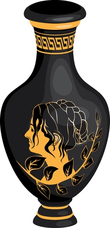 Black Realistic Ancient Greek amphora  with woman profile  Vector