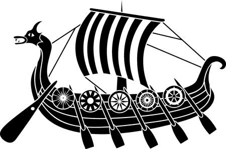 Ancient vikings fartyg med sköldar stencil Illustration