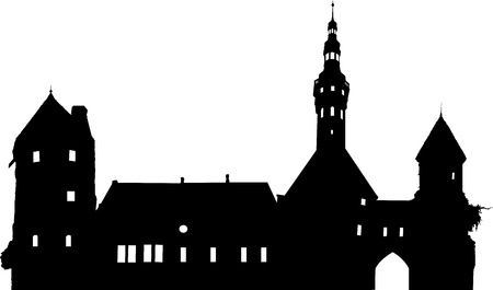 Medieval cityscape black horizontal panoramic silhouette Vector