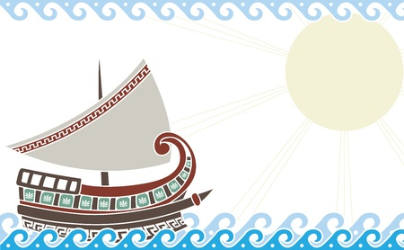 Ship in ocean in classic greek style color variant Vector
