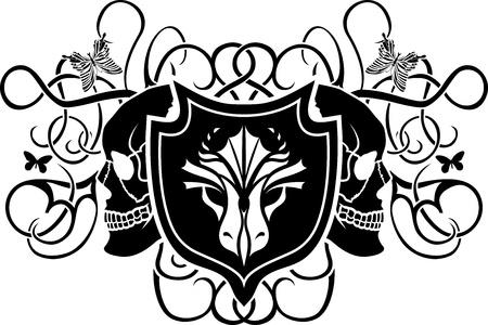 Dragon and skull shield. vector illustration for web  Vector
