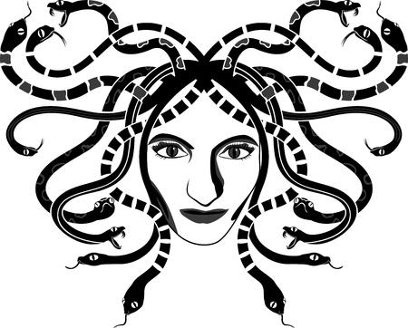 white snake: Medusa Gorgona head two-coloured stencil