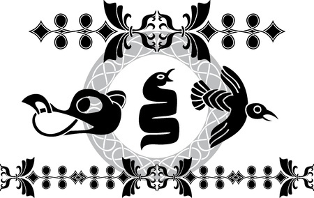 Decoration elements set in viking style  Vector