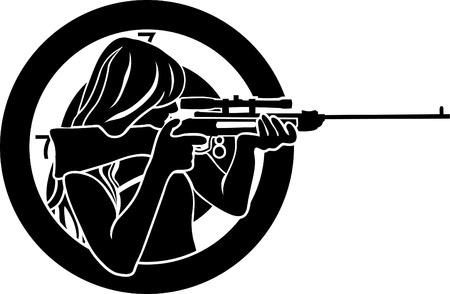 mujer con arma: chica busca de un rifle con el objetivo de fondo de la plantilla