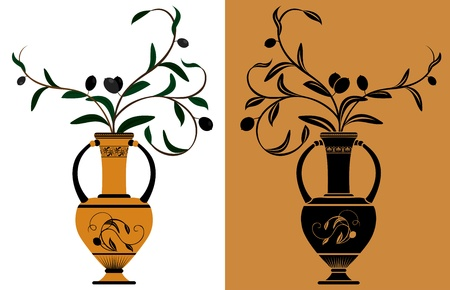Ancient Greek amphora with olive branches stencil and color variants Vector