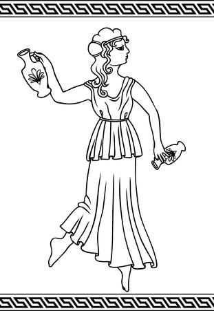 vasi greci: Donna greca con anfore in stile di vasi di pittura Vettoriali