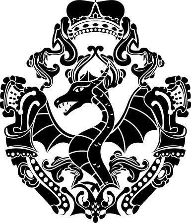 black and white dragon: Dragon arms with crown stencil