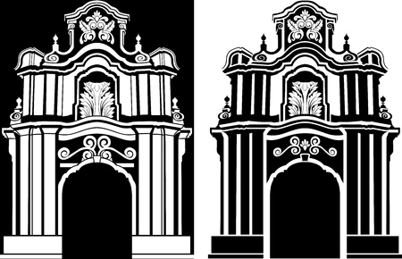 classical arch stencil in two variants illustration Vector