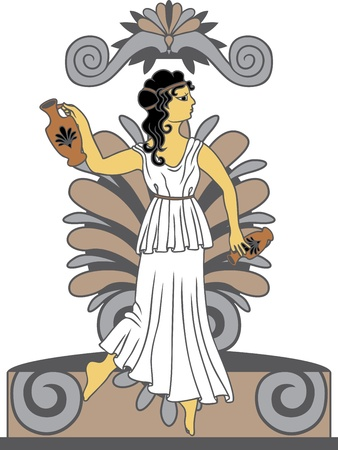 Greek woman with amphoras in classical style colored variant Vector
