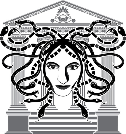 Medusa Gorgona temple stencil Stock Vector - 12980846