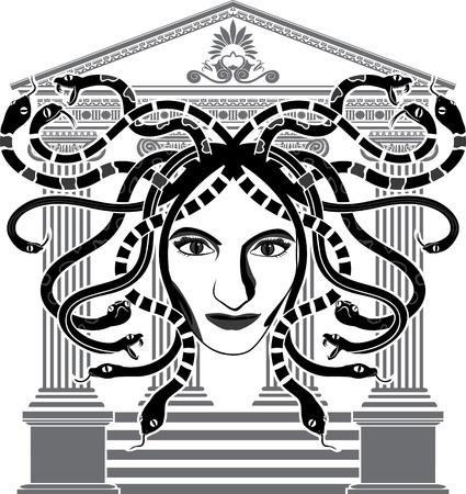 medusa: Medusa Gorgona temple stencil