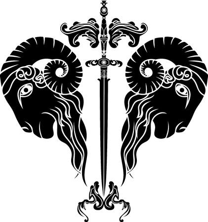 cliche: espada con cabeza de carnero se refleja, la persistencia de la obstinaci�n s�mbolo