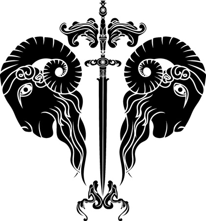 sword with reflected ram head,  persistence obstinacy symbol Vector