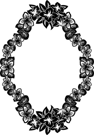 Ornate frame with flowers stencil  Vector